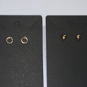 Minimalist Circle and Heart Earrings